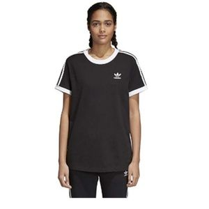 adidas Women's 3 Stripes Tee, Black, L
